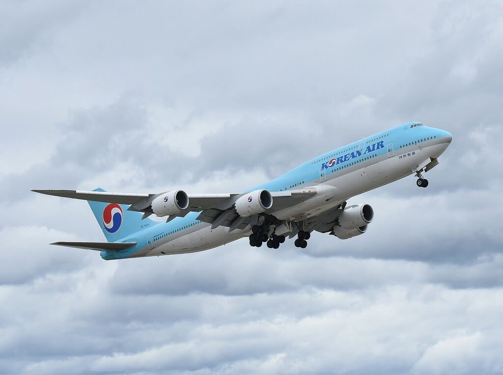 Korean Air Boeing 747 8B5 HL7630 taking off at Hartsfield jackson airport