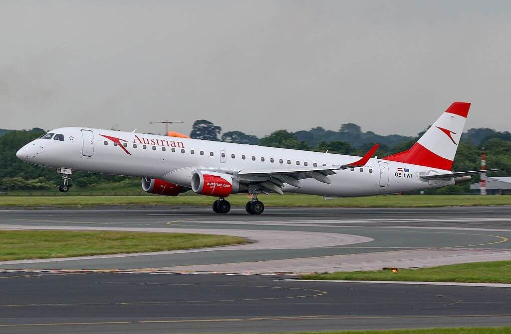 OE LWI Embraer 195 of Austrian Airlines at Manchester Airport