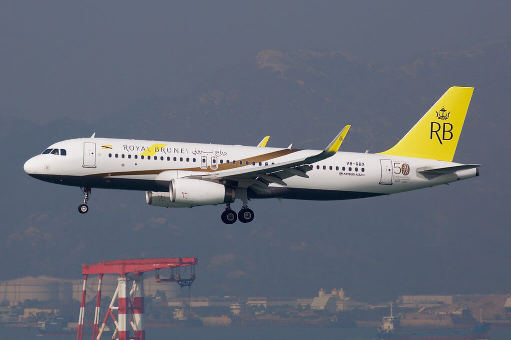 Royal Brunei Airbus A320 232WL V8 RBX His Majestys 50th Golden Jubilee Livery at Hongkong International Airport