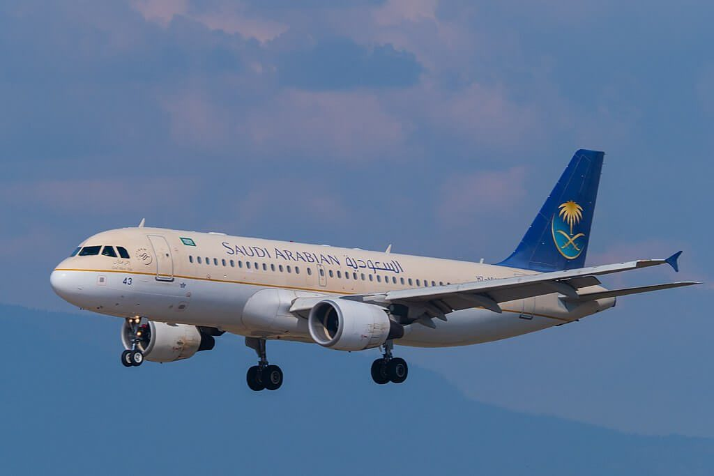 Saudia Airbus A320 214 HZ AS43 at Geneva International Airport