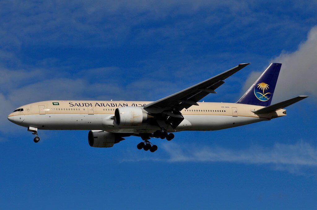 Saudia Boeing 777 268ER HZ AKS at Manchester Airport