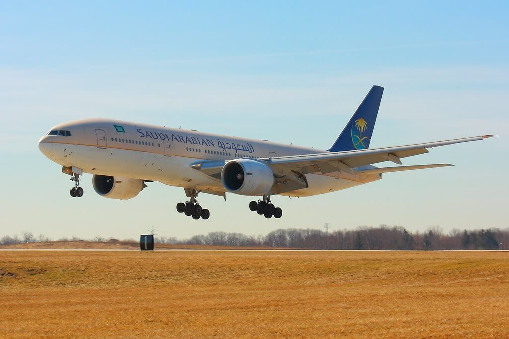 Saudia Boeing 777 268ER HZ AKV at Cleveland Hopkins International Airport