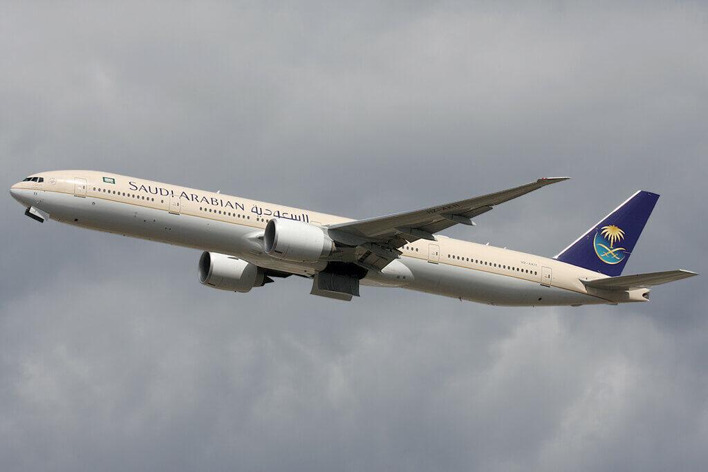 Saudia Boeing 777 368ER HZ AK11 at London Heathrow Airport 1