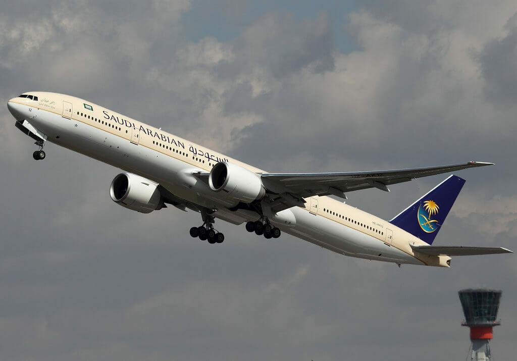 Saudia Boeing 777 368ER HZ AK12 at London Heathrow Airport 1