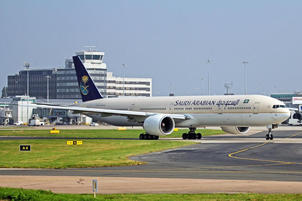 Saudia Boeing 777 368ER HZ AK13 at Manchester Airport 1