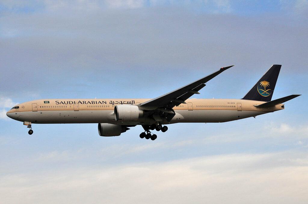 Saudia Boeing 777 368ER HZ AK14 at Manchester Airport 1