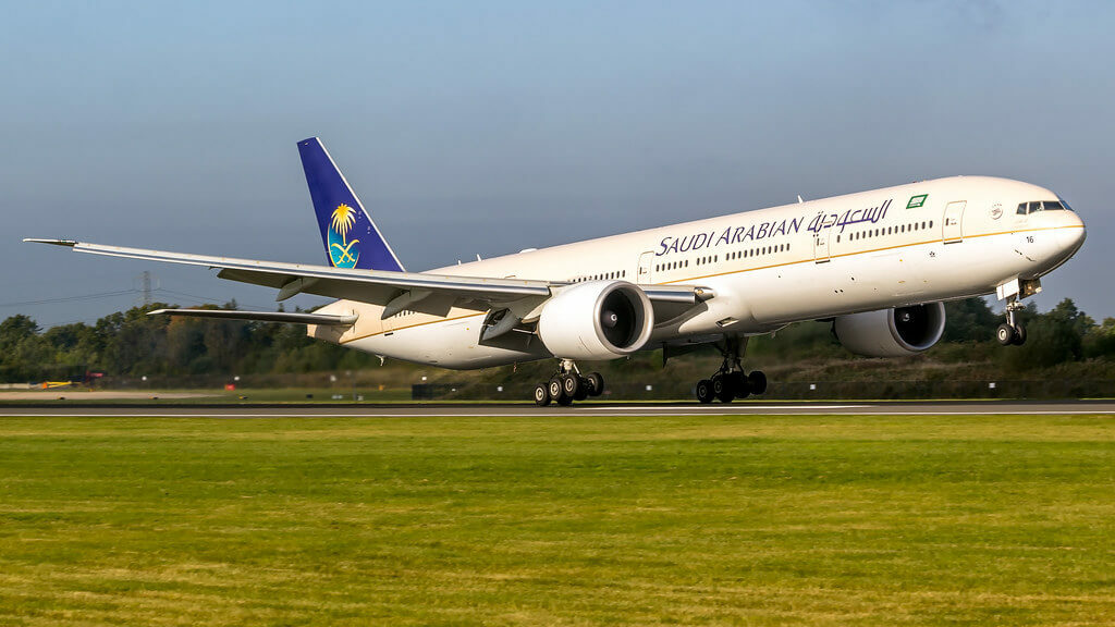 Saudia Boeing 777 368ER HZ AK16 at Manchester Airport 1