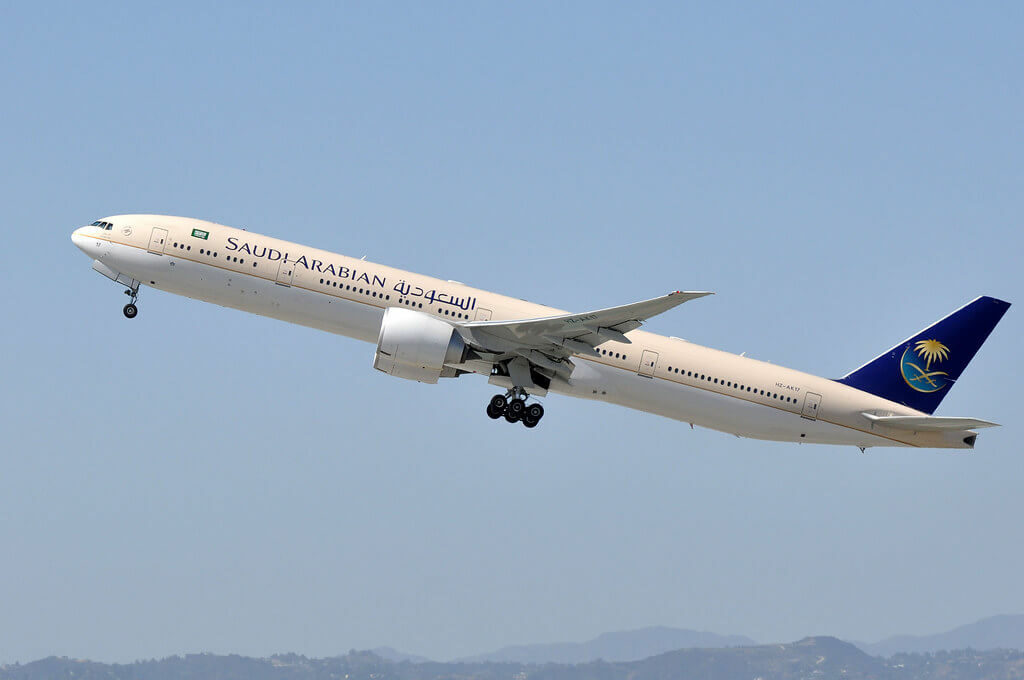 Saudia Boeing 777 368ER HZ AK17 at LAX Airport 1