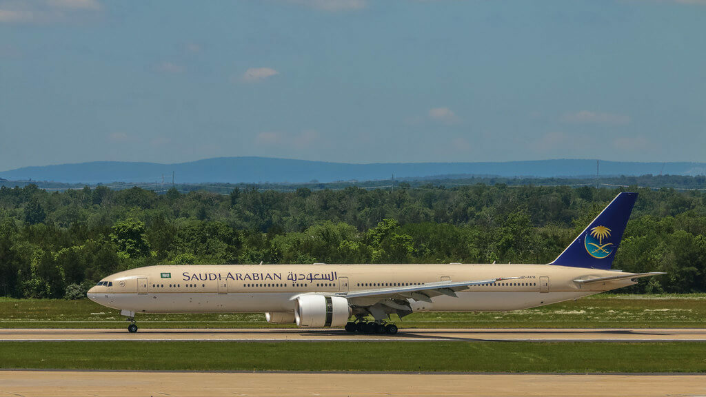 Saudia Boeing 777 368ER HZ AK18 at Washington Dulles International Airport 1