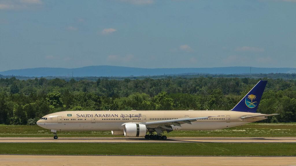Saudia Boeing 777 368ER HZ AK18 at Washington Dulles International Airport 1