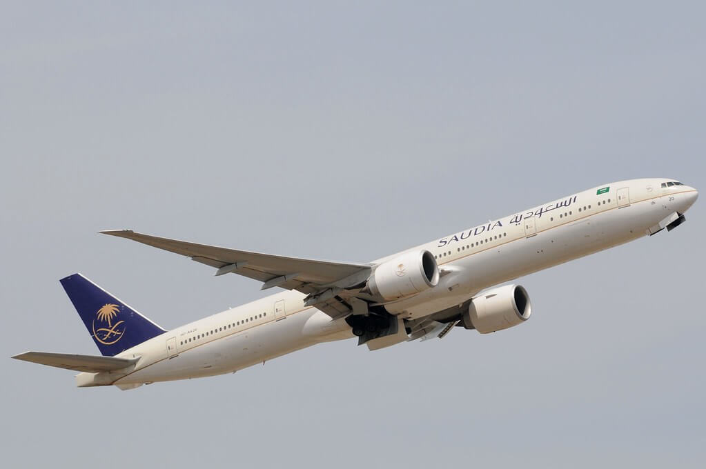 Saudia Boeing 777 368ER HZ AK20 at London Heathrow Airport 1