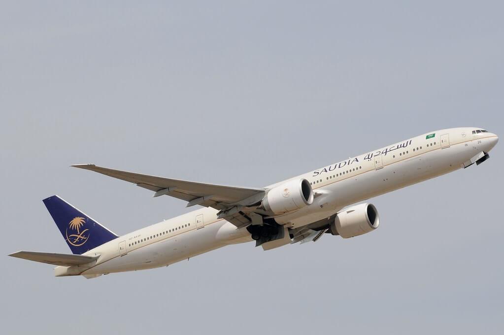 Saudia Boeing 777 368ER HZ AK20 at London Heathrow Airport 1
