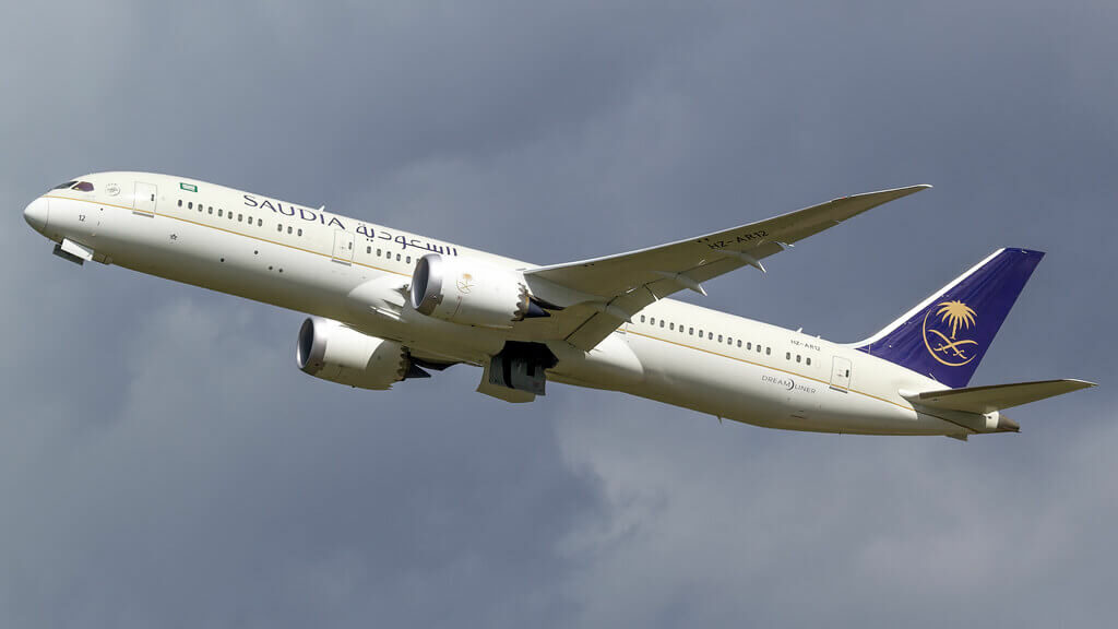 Saudia Boeing 787 9 Dreamliner HZ AR12 at Manchester Airport 1