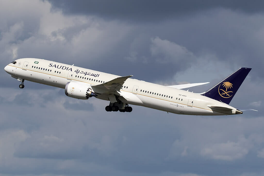 Saudia Boeing 787 9 Dreamliner HZ AR13 at Manchester Airport 1