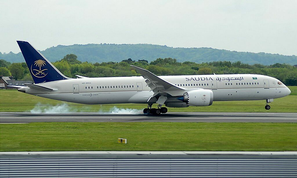 Saudia Boeing 787 9 Dreamliner HZ AR23 at Manchester Airport 1