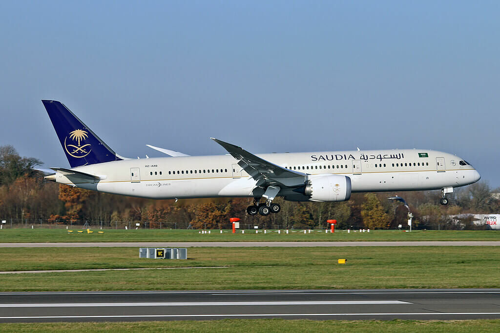Saudia Boeing 787 9 Dreamliner HZ ARB at Manchester Airport 1