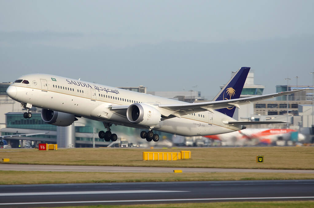 Saudia Boeing 787 9 Dreamliner HZ ARC at Manchester Airport 1