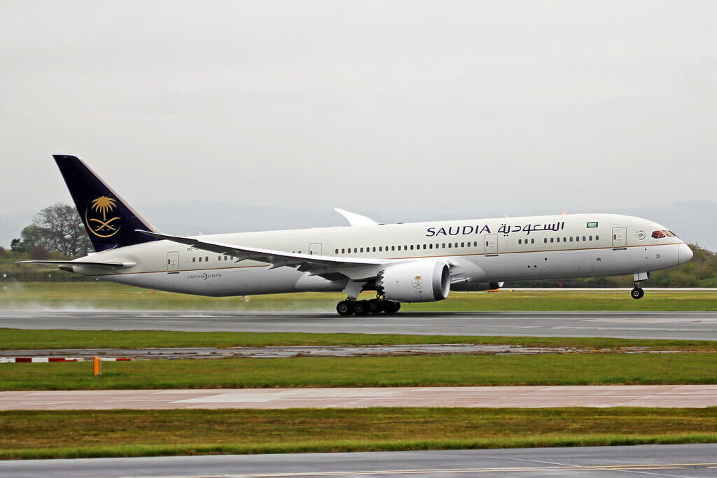 Saudia Boeing 787 9 Dreamliner HZ ARD at Manchester Airport 1