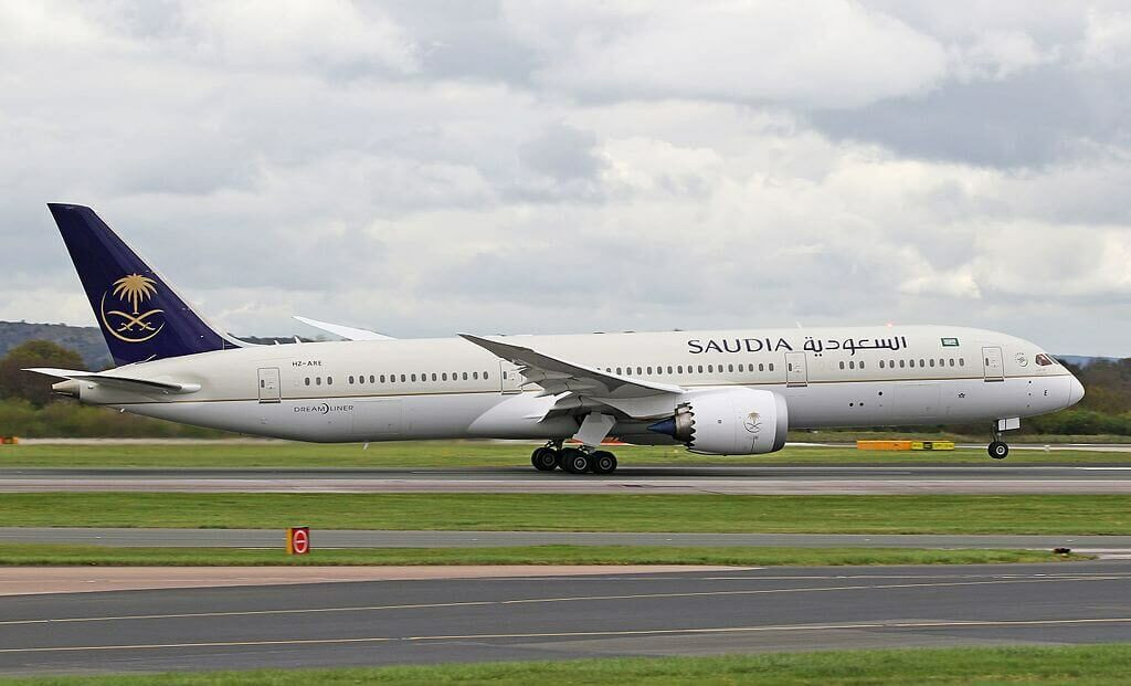 Saudia Boeing 787 9 Dreamliner HZ ARE at Manchester Airport 1