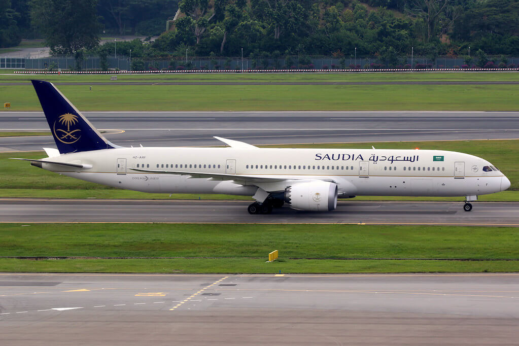 Saudia Boeing 787 9 Dreamliner HZ ARF at Singapore Changi 1
