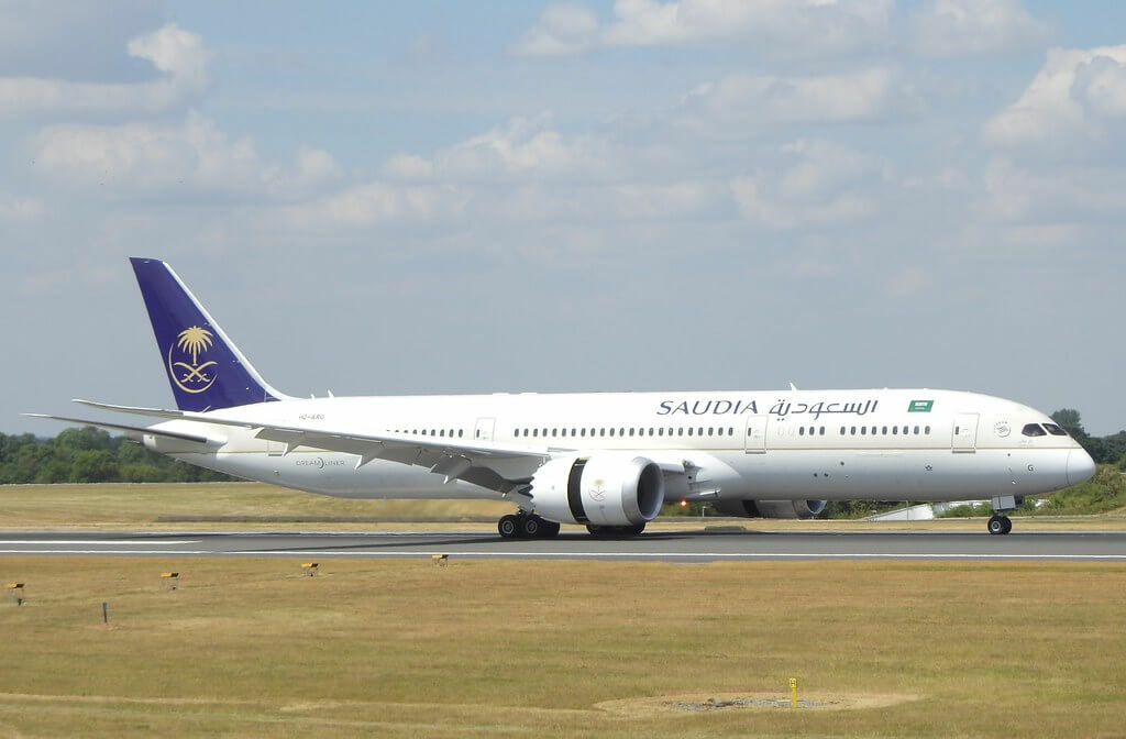 Saudia Boeing 787 9 Dreamliner HZ ARG at Manchester Airport 1