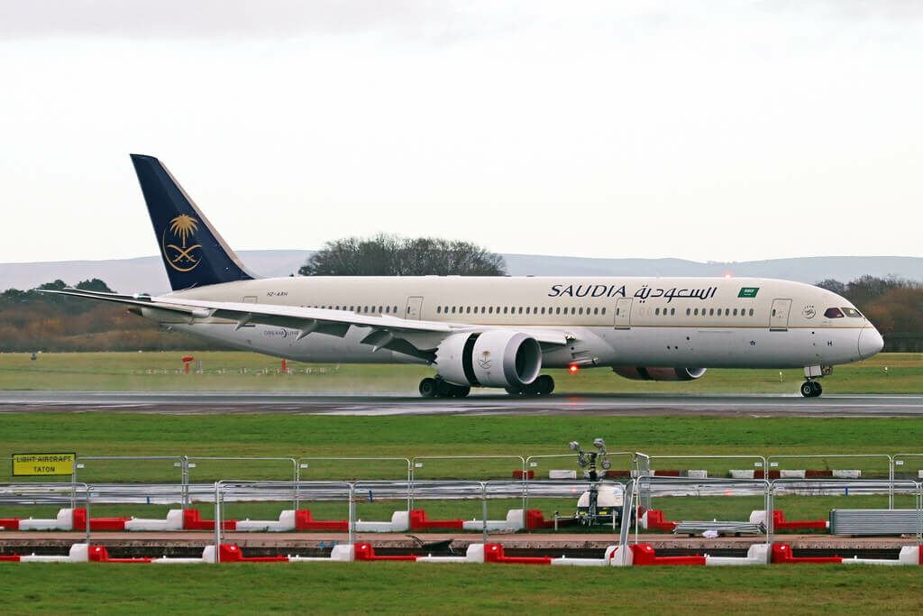 Saudia Boeing 787 9 Dreamliner HZ ARH at Manchester Airport 1