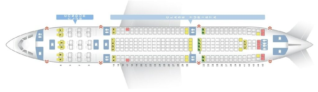 Seat Map and Seating Chart Aerolineas Argentinas Airbus A330 200