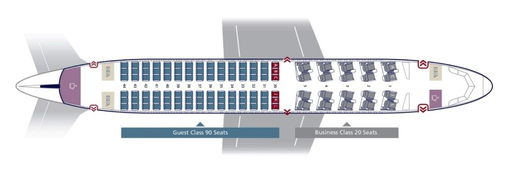 Seat Map and Seating Chart Airbus A320CEO Retrofit Configuration 32U Saudia