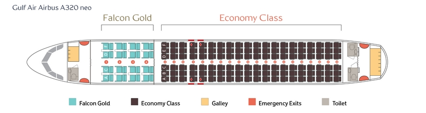 Seat Map and Seating Chart Airbus A320neo Gulf Air