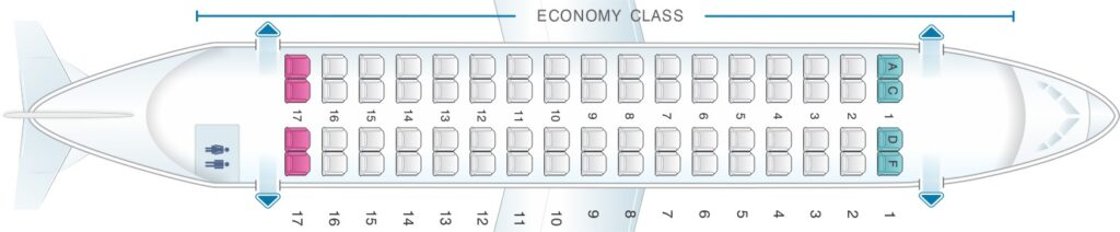 Seat Map and Seating Chart Avianca ATR 72 600