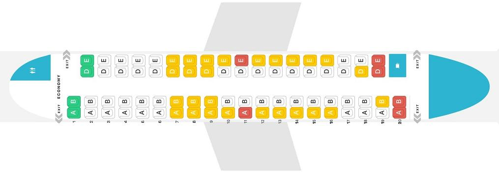 Seat Map and Seating Chart Bombardier Dash 8 Q400 Alaska Airlines Horizon Air