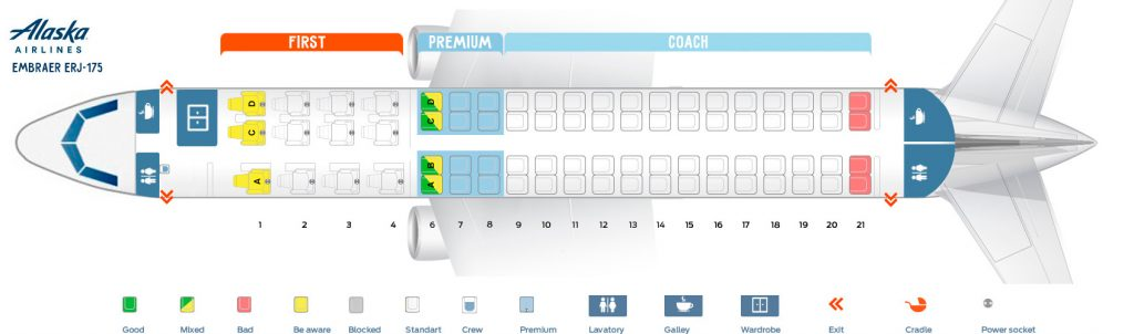 Seat Map and Seating Chart Embraer ERJ 175 Alaska Airlines