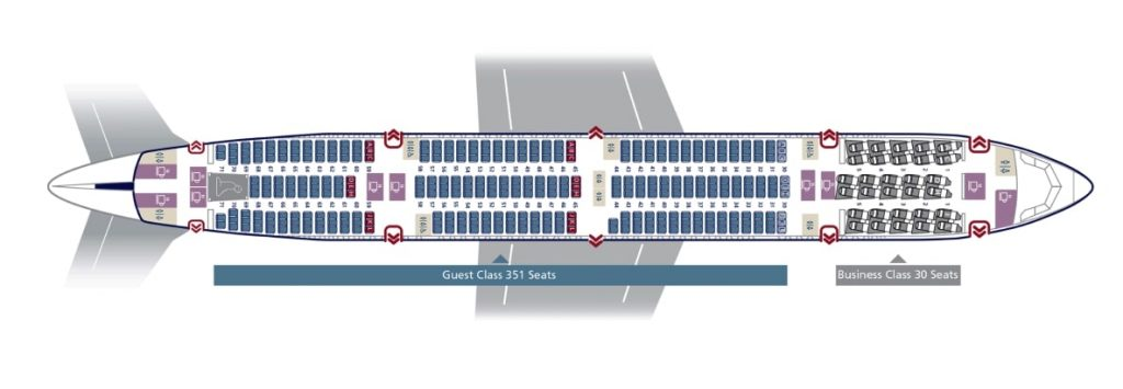 Seat Map and Seating Chart Saudia Boeing 777 300ER 381 Seats 77H