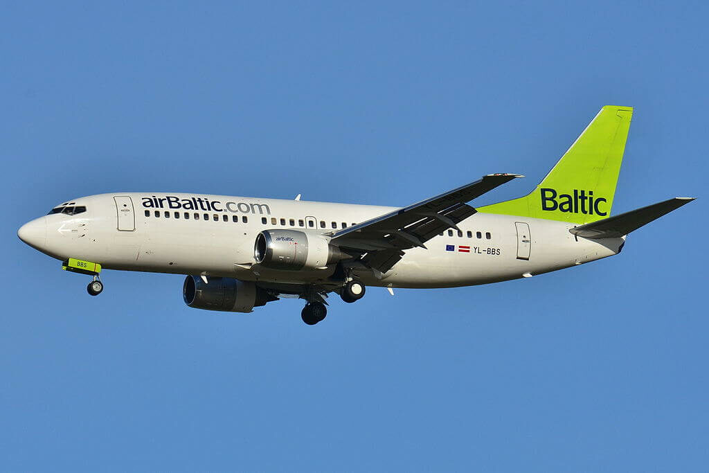 airBaltic Boeing 737 31S YL BBS at Paris Charles de Gaulle Airport