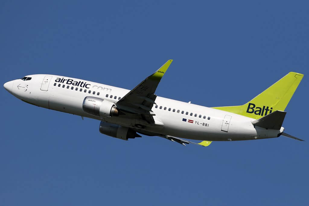 airBaltic Boeing 737 33AWL YL BBI at Amsterdam Schiphol Airport