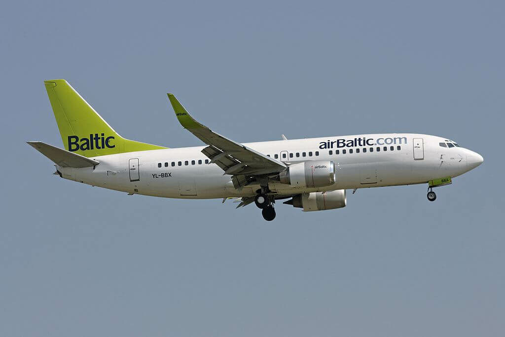 airBaltic Boeing 737 36QWL YL BBX at Zurich International Airport