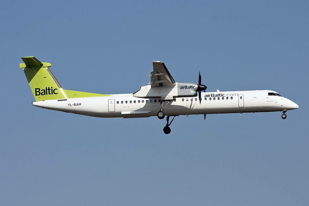 airBaltic Bombardier DHC 8 402Q Dash 8 YL BAH at Zurich International Airport