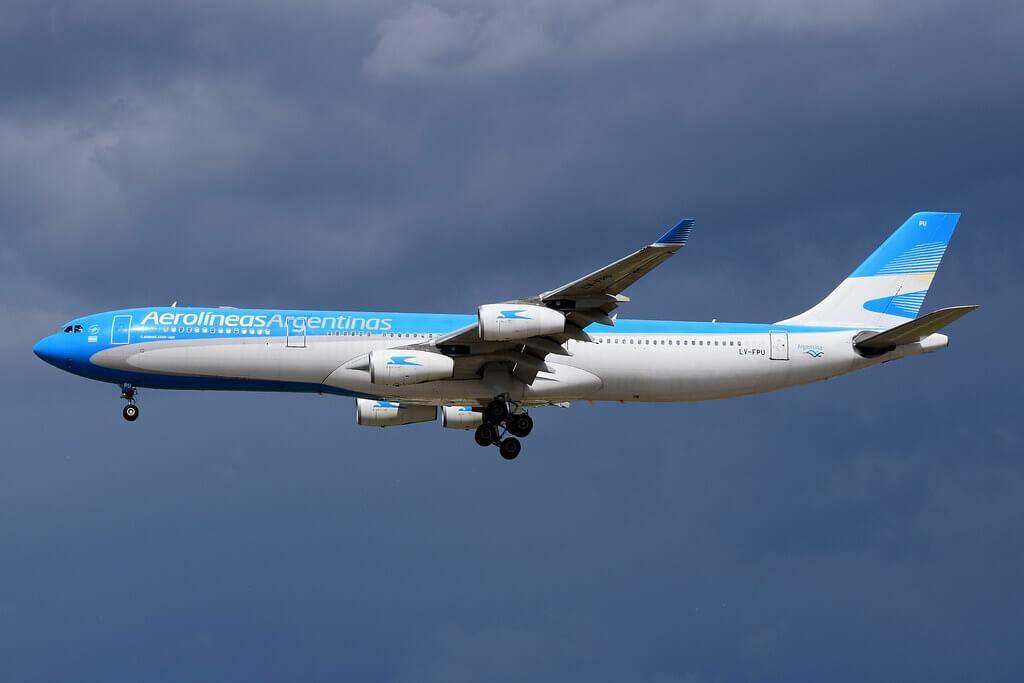 Aerolineas Argentinas Airbus A340 313 LV FPU at Madrid Barajas Airport