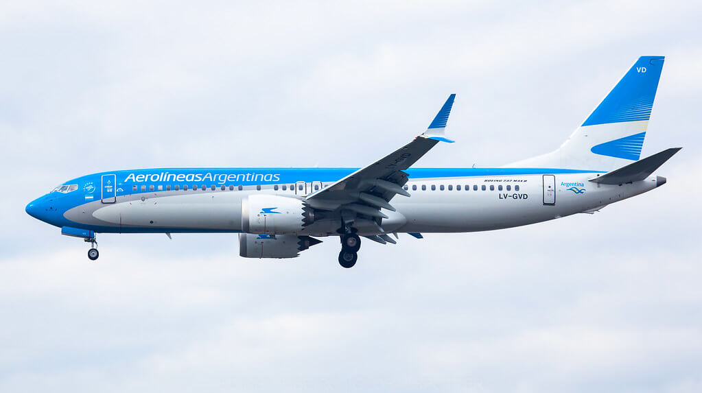 Aerolineas Argentinas Boeing 737 8 MAX LV GVD at Sao Paulo Airport