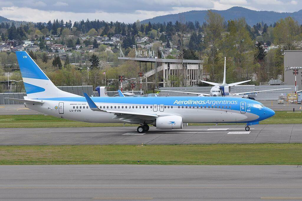 Aerolineas Argentinas Boeing 737 8SHWL LV FVN at Renton Municipal Airport
