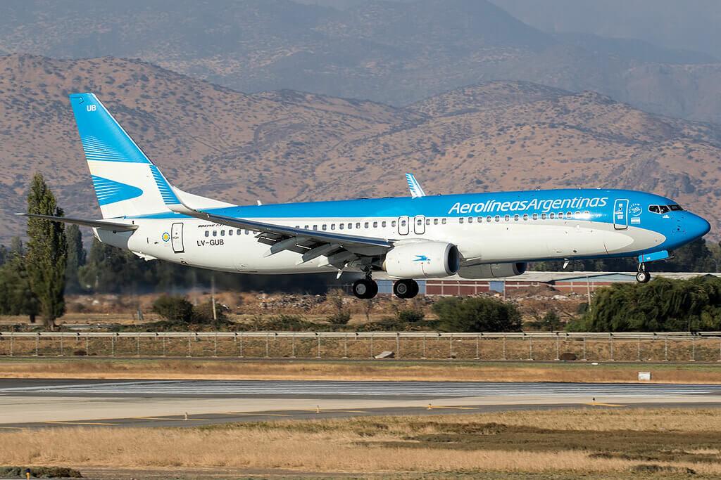 Aerolineas Argentinas Boeing 737 8SHWL LV GUB at Comodoro Arturo Merino Benítez International Airport