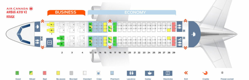 Air Canada Rouge Airbus A319 100 Seating Plan