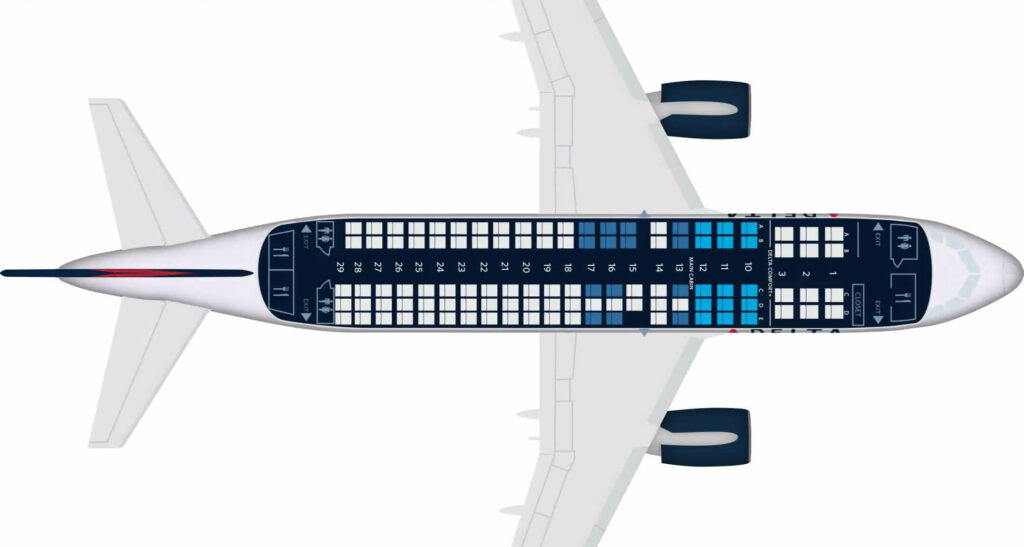 Delta Air Lines Airbus A220 100 Seating Plan