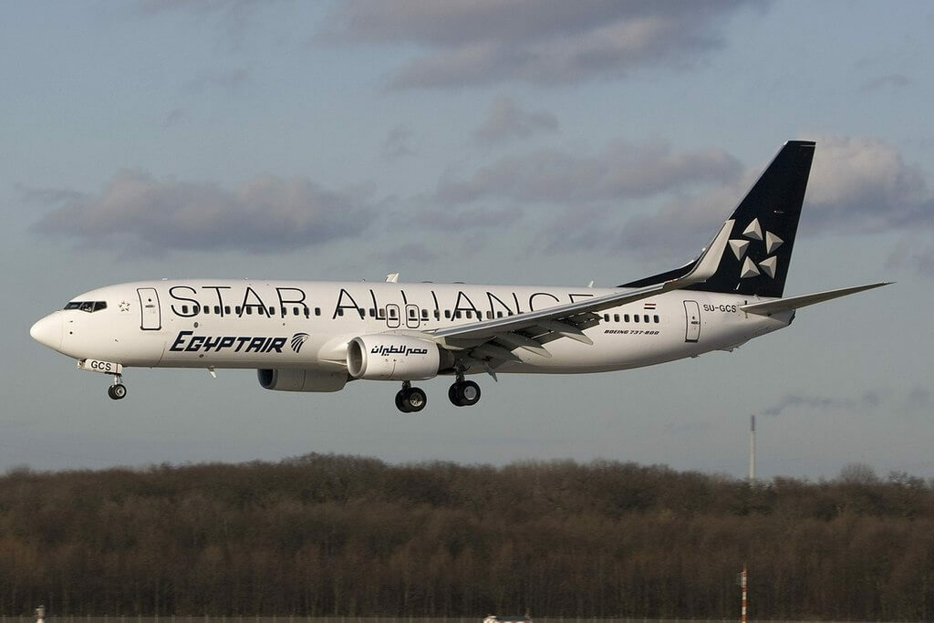 EgyptAir SU GCS Boeing 737 866WL Star Alliance Livery at Duesseldorf International Airport