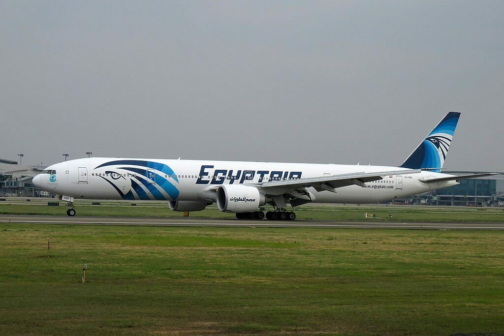 Egyptair SU GDR Boeing 777 36NER at Guangzhou Baiyun International Airport