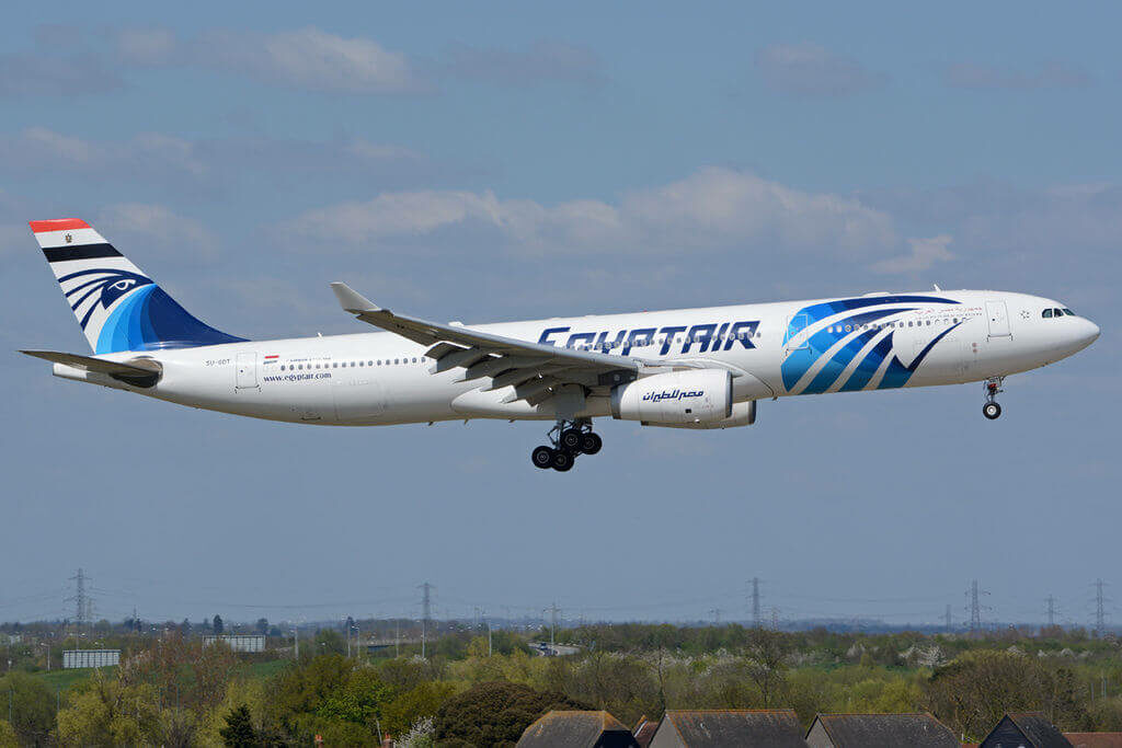 Egyptair SU GDT Airbus A330 343 at London Heathrow Airport