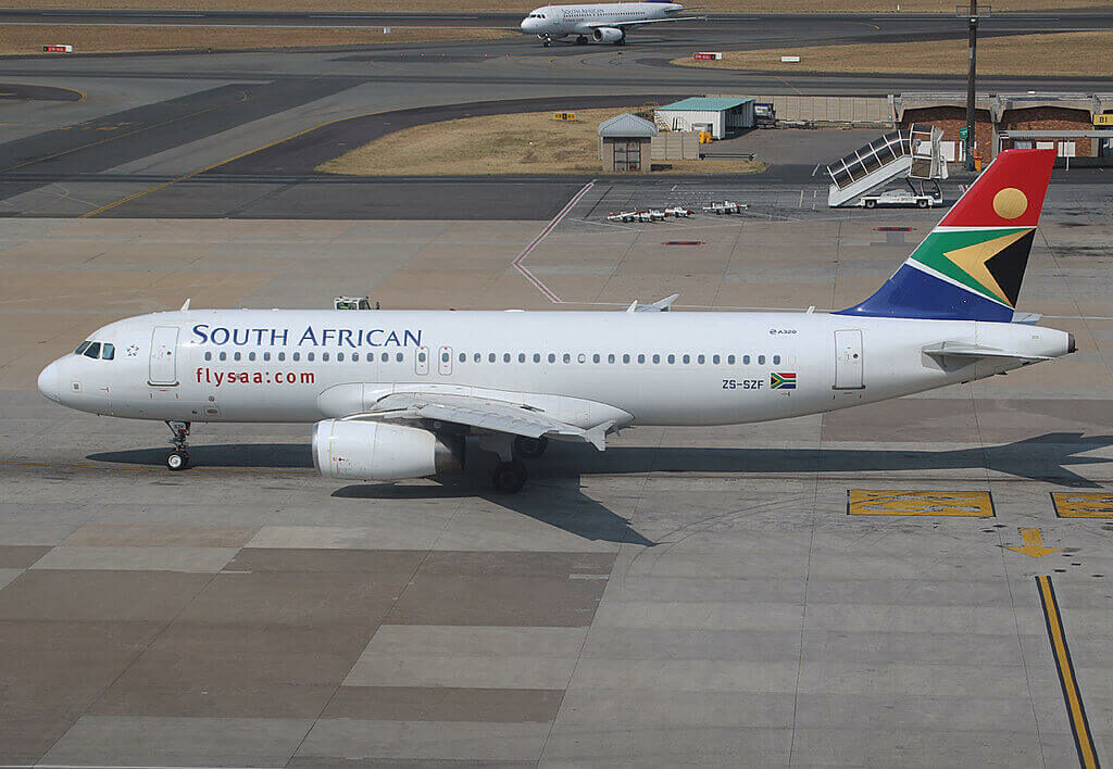 SAA South African Airways ZS SZF Airbus A320 232 at O.R. Tambo International Airport