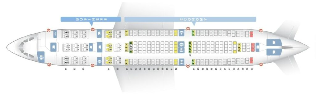 Seat Map and Seating Chart Air China Airbus A330 200 Layout 237 Seats
