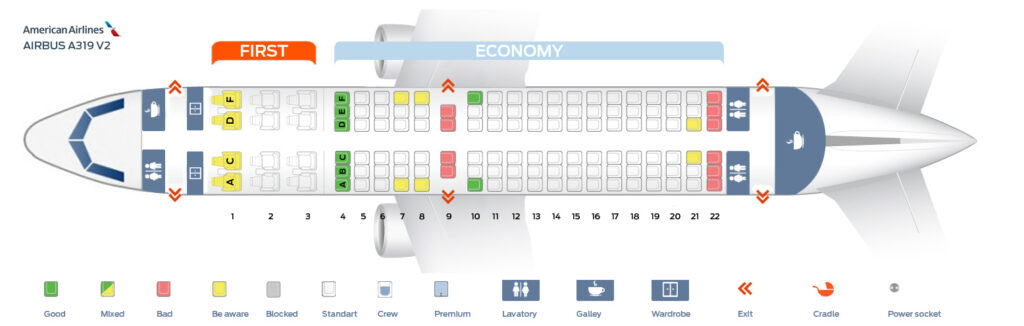 Seat Map and Seating Chart Airbus A319 100 American Airlines 124 Seats Layout