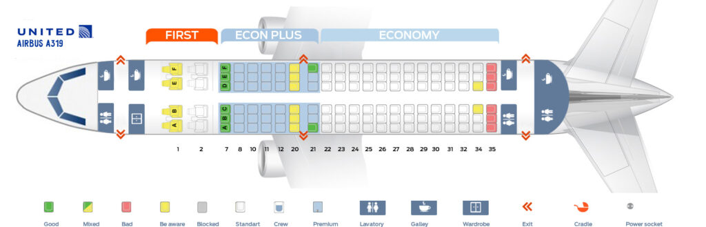Seat Map and Seating Chart Airbus A319 100 United Airlines